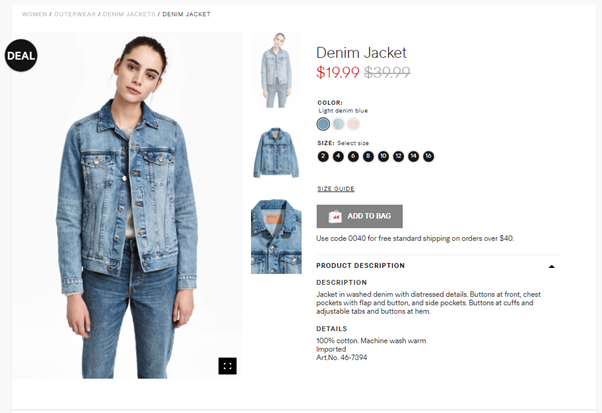 H&M Denim Jacket Sale Using Ecommerce Psychology
