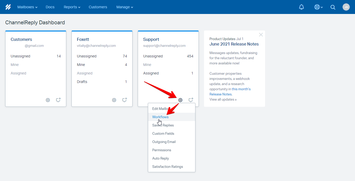 Choosing Workflows from the Mailbox Settings Menu in Help Scout