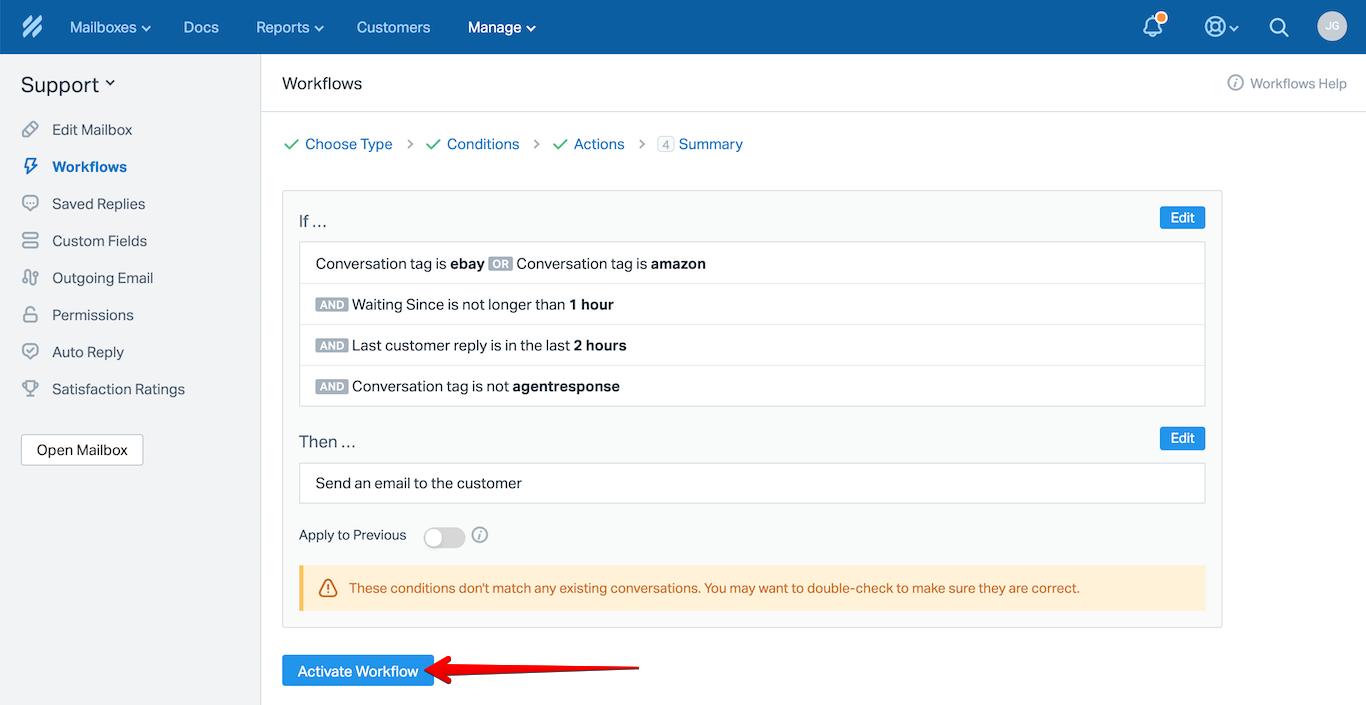 Activate Workflow Button