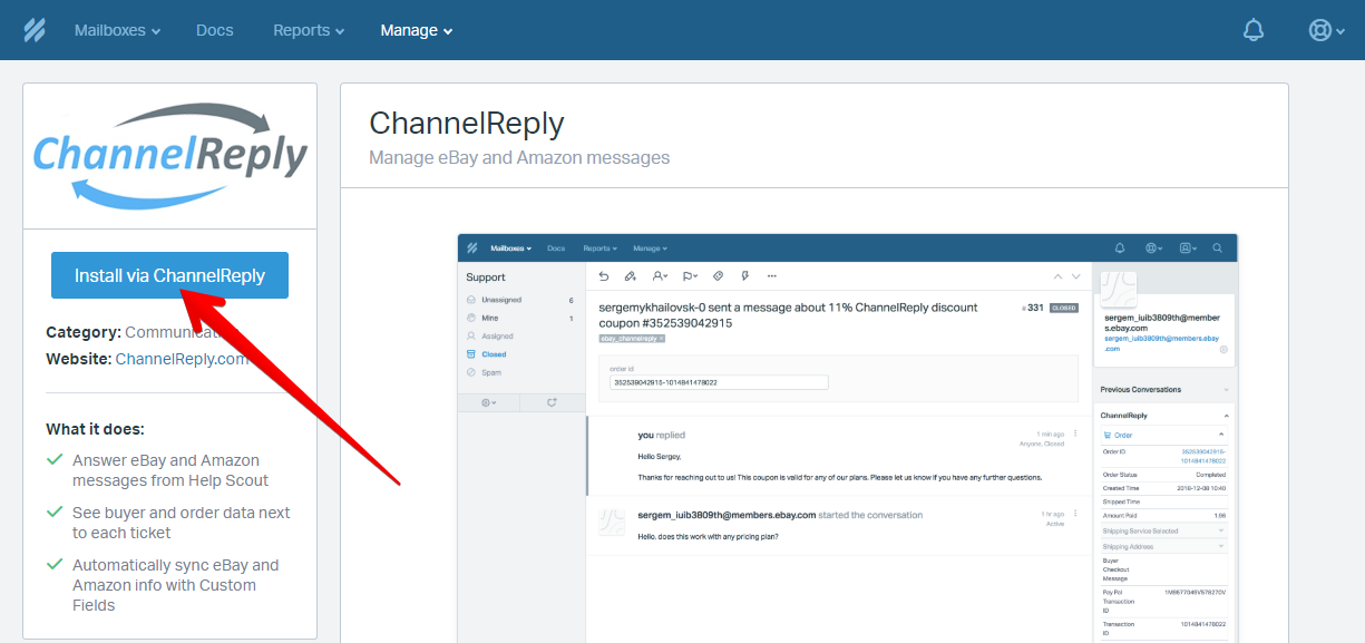 Install via ChannelReply Button