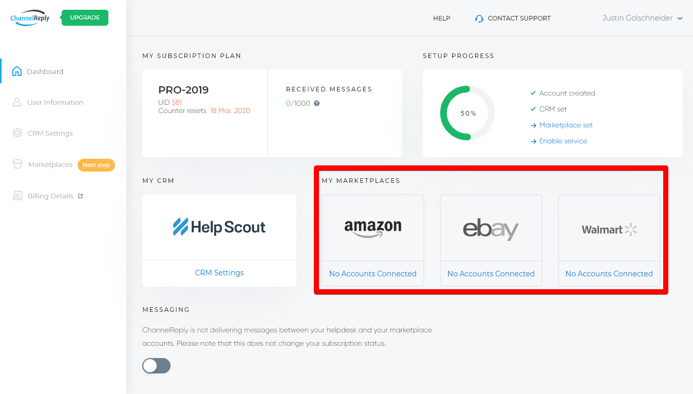 Integrate Marketplaces from ChannelReply Dashboard