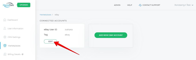 Edit eBay Account in ChannelReply