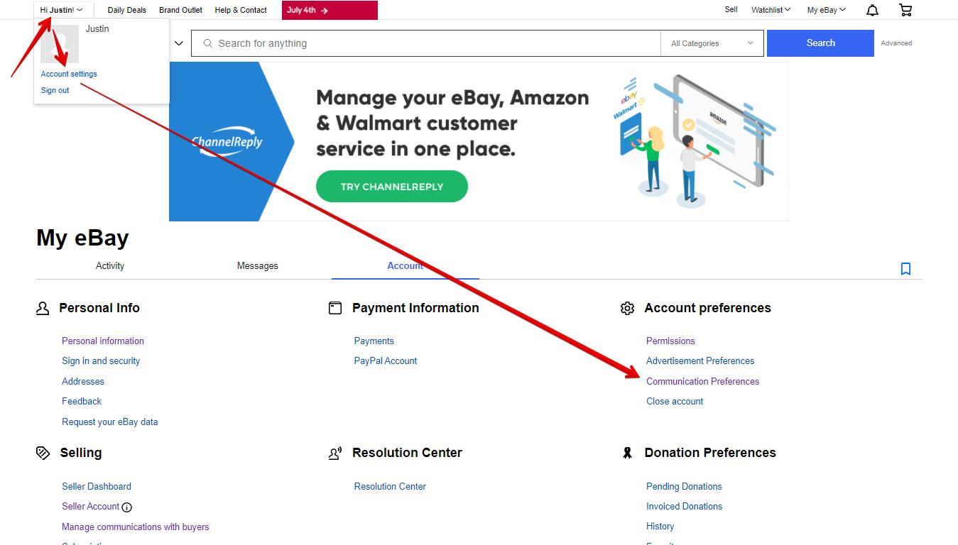 Communication Preferences on eBay