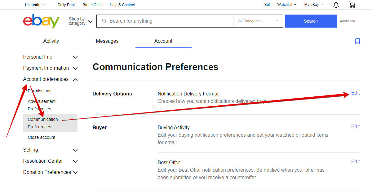 Edit Communication Delivery Options on eBay