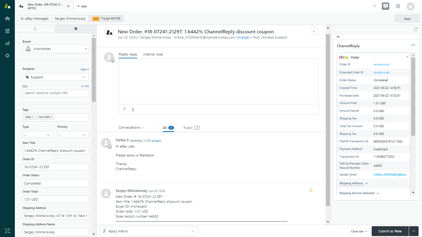 ChannelReply New Order Notification for eBay in Zendesk
