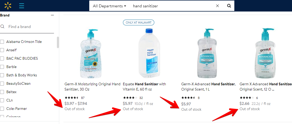 Hand Sanitizer Out of Stock on Walmart Due to the Coronavirus Outbreak