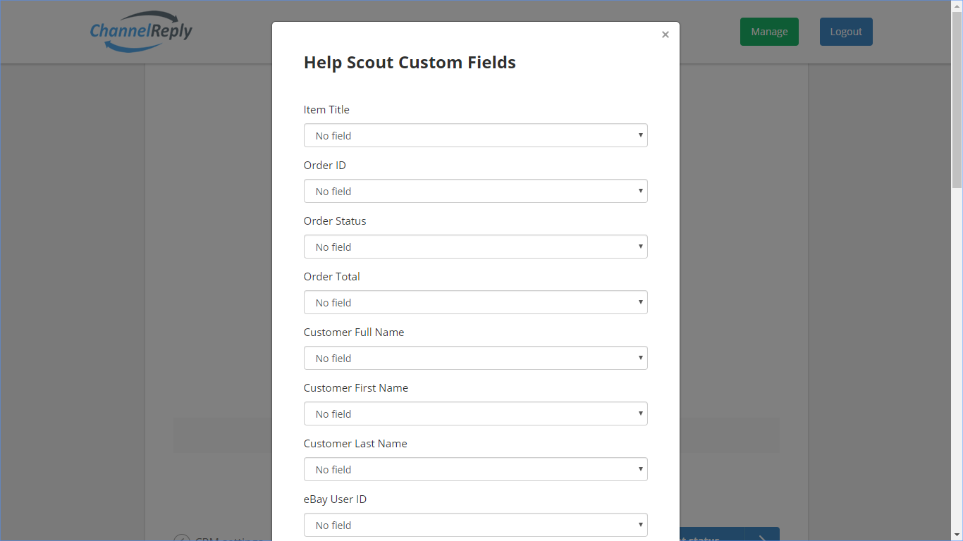 Help Scout Custom Field Settings in ChannelReply