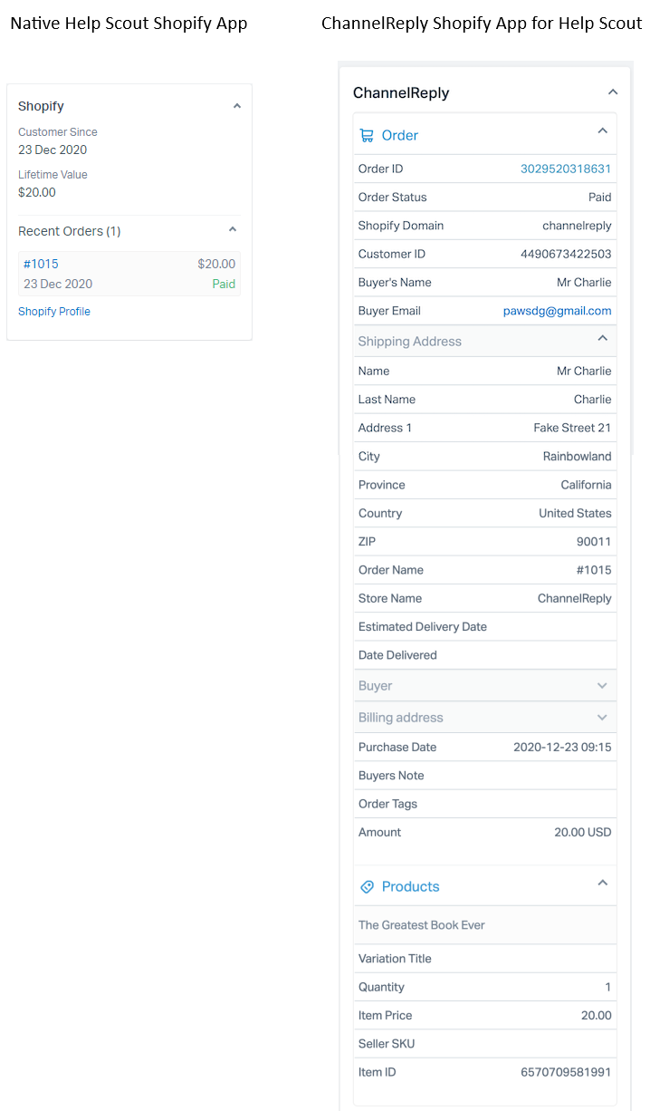 Shopify Data in Help Scout with the Free App and with ChannelReply