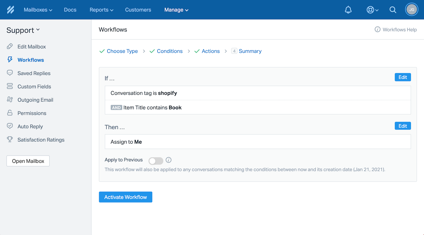 Help Scout Workflow with a Shopify Custom Field from ChannelReply