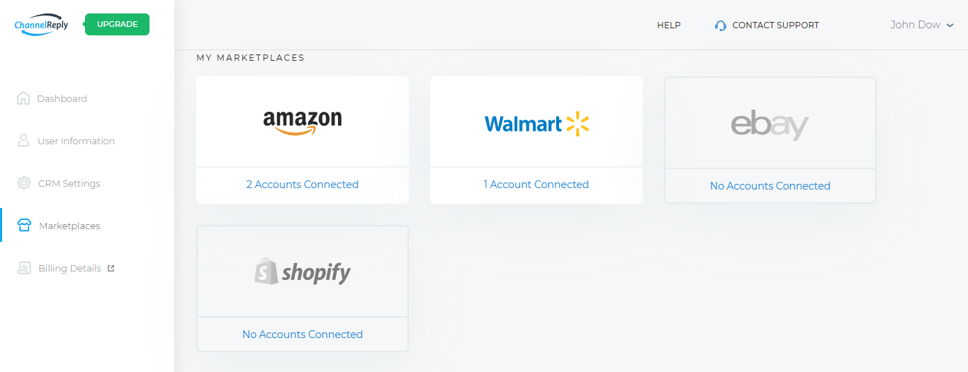 Inside the Marketplaces Tab