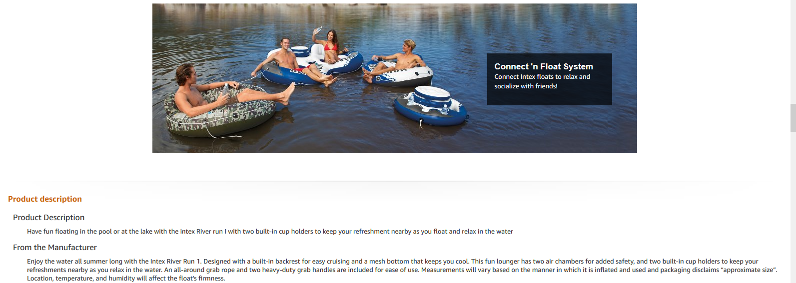 Intex River Run Description on Amazon