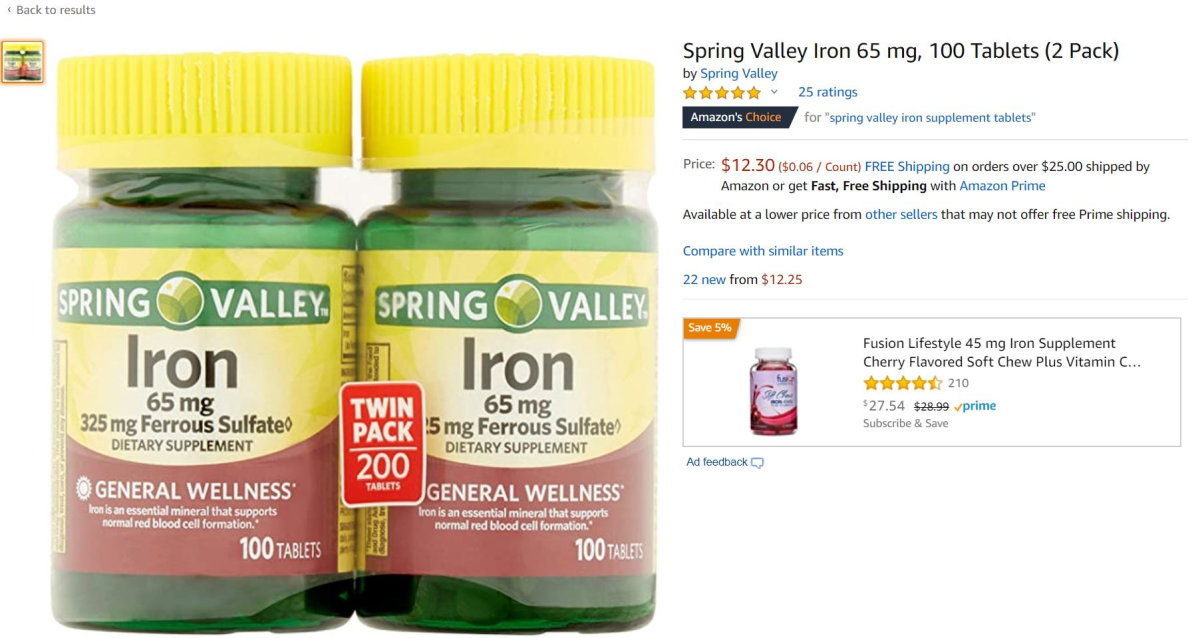 Spring Valley Iron Supplements on Amazon