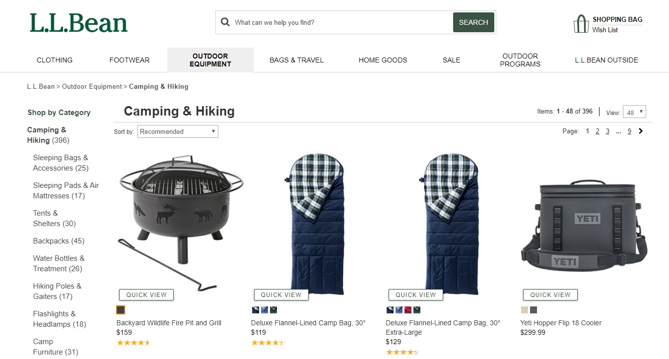 L.L.Bean Camping and Hiking Gear