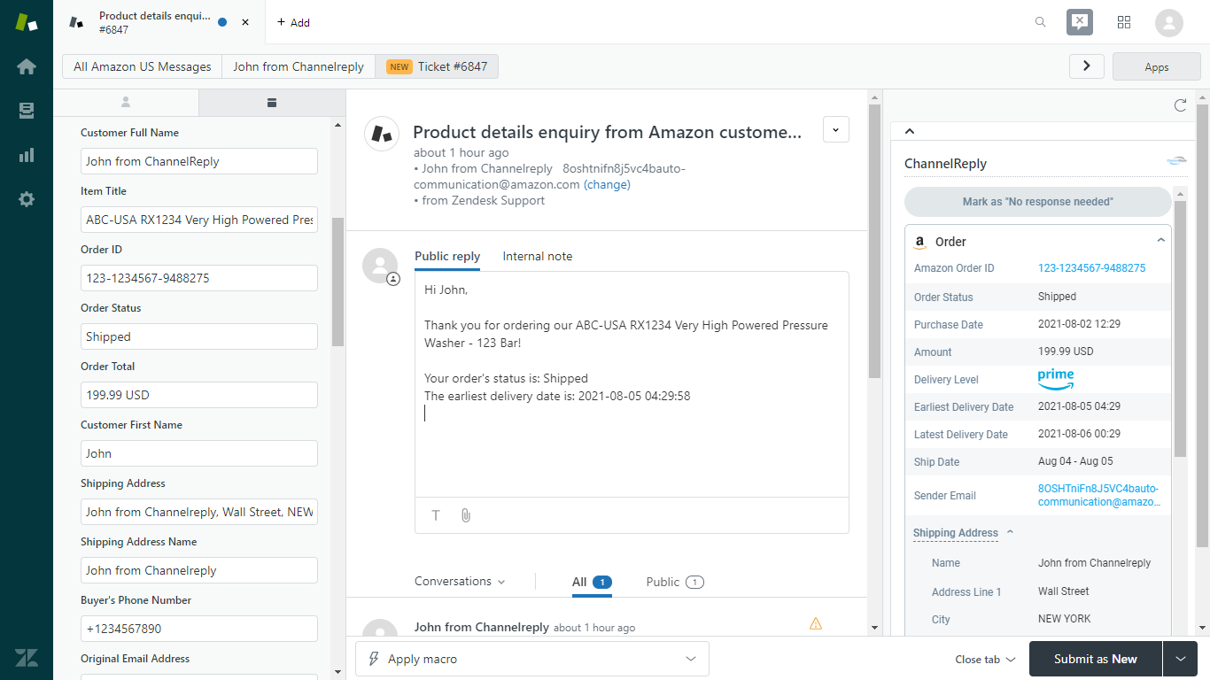 ChannelReply Placeholders Transformed into Amazon Data when Used in a Zendesk Macro