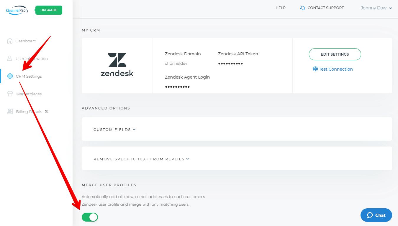 Merge User Profiles Slider in CRM Settings