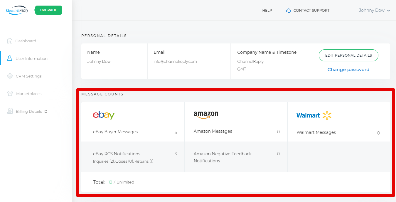 Message Counts Section of User Information Tab with eBay, Amazon and Walmart Messaging Numbers