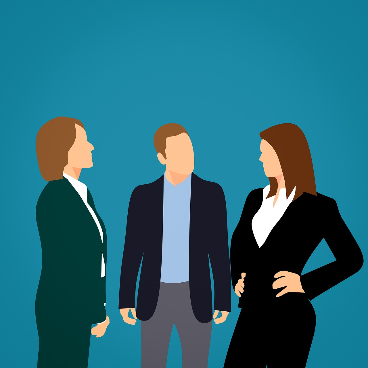 Two Businesswomen Separated By a Middleman