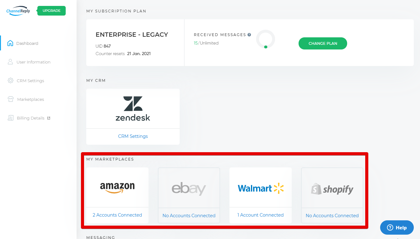 My Marketplaces on the ChannelReply Dashboard