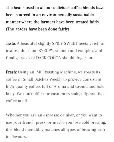 Natural Conscience Coffee Description