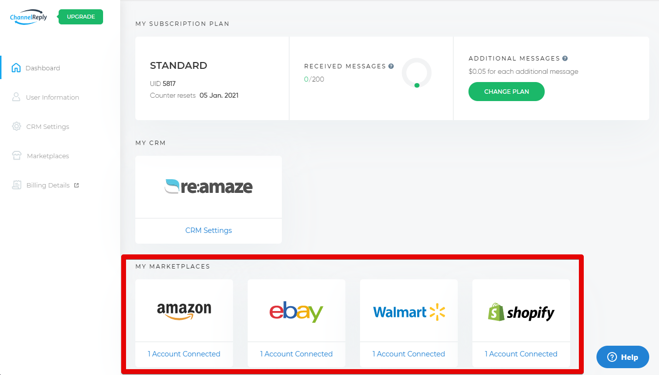 Integrate Amazon, eBay or Walmart with Re:amaze from Your ChannelReply Dashboard