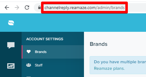 The URL on a Re:amaze Account