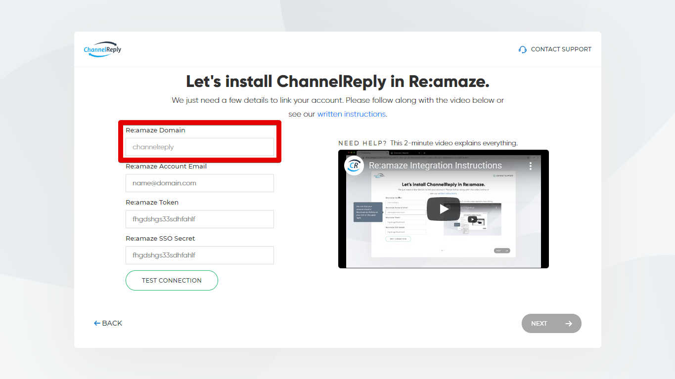 Entering Your Re:amaze Domain in ChannelReply