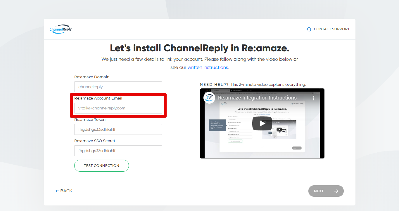 Entering Your Re:amaze Account Email in ChannelReply