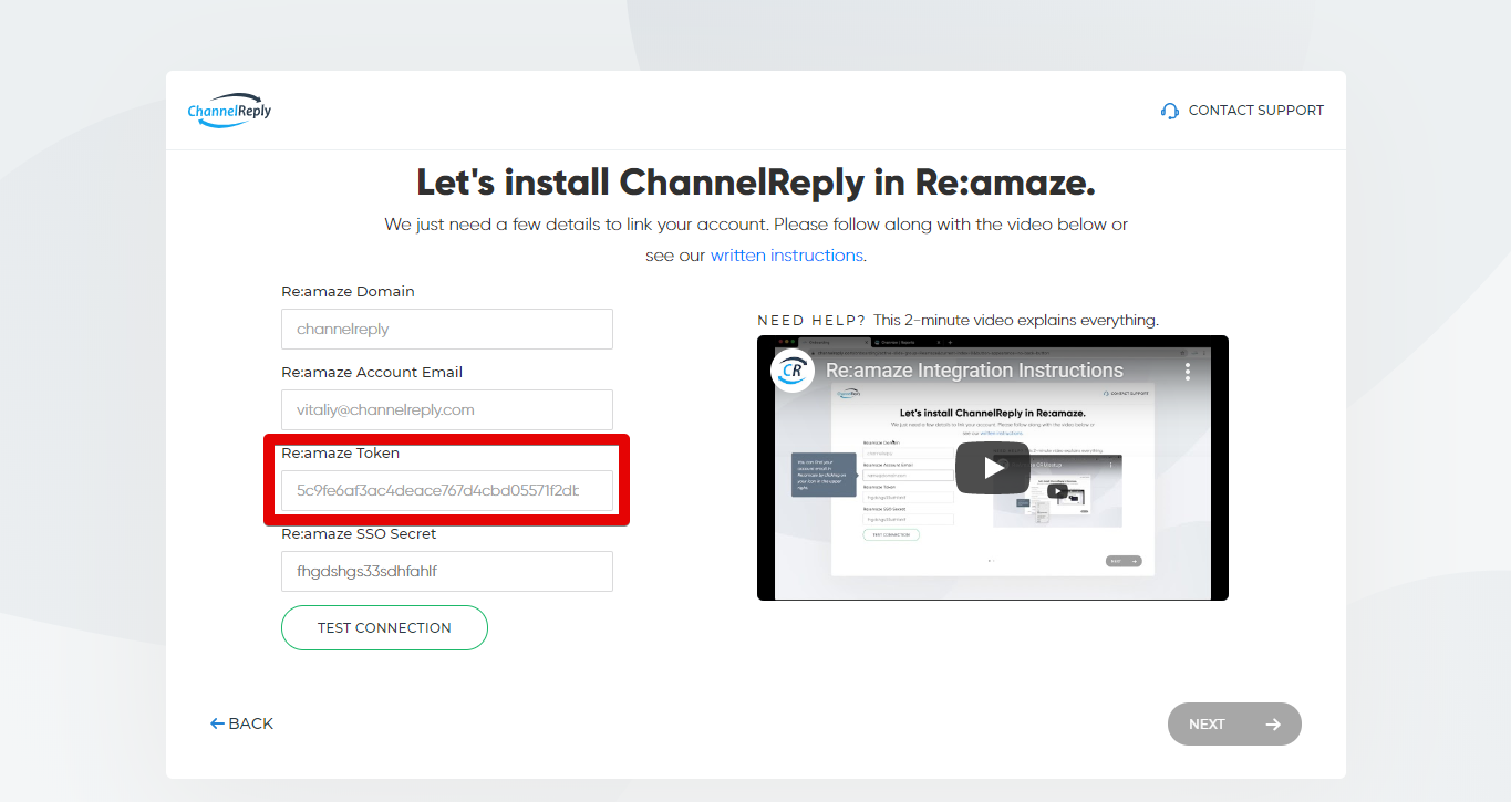 Entering Your Re:amaze Token in ChannelReply