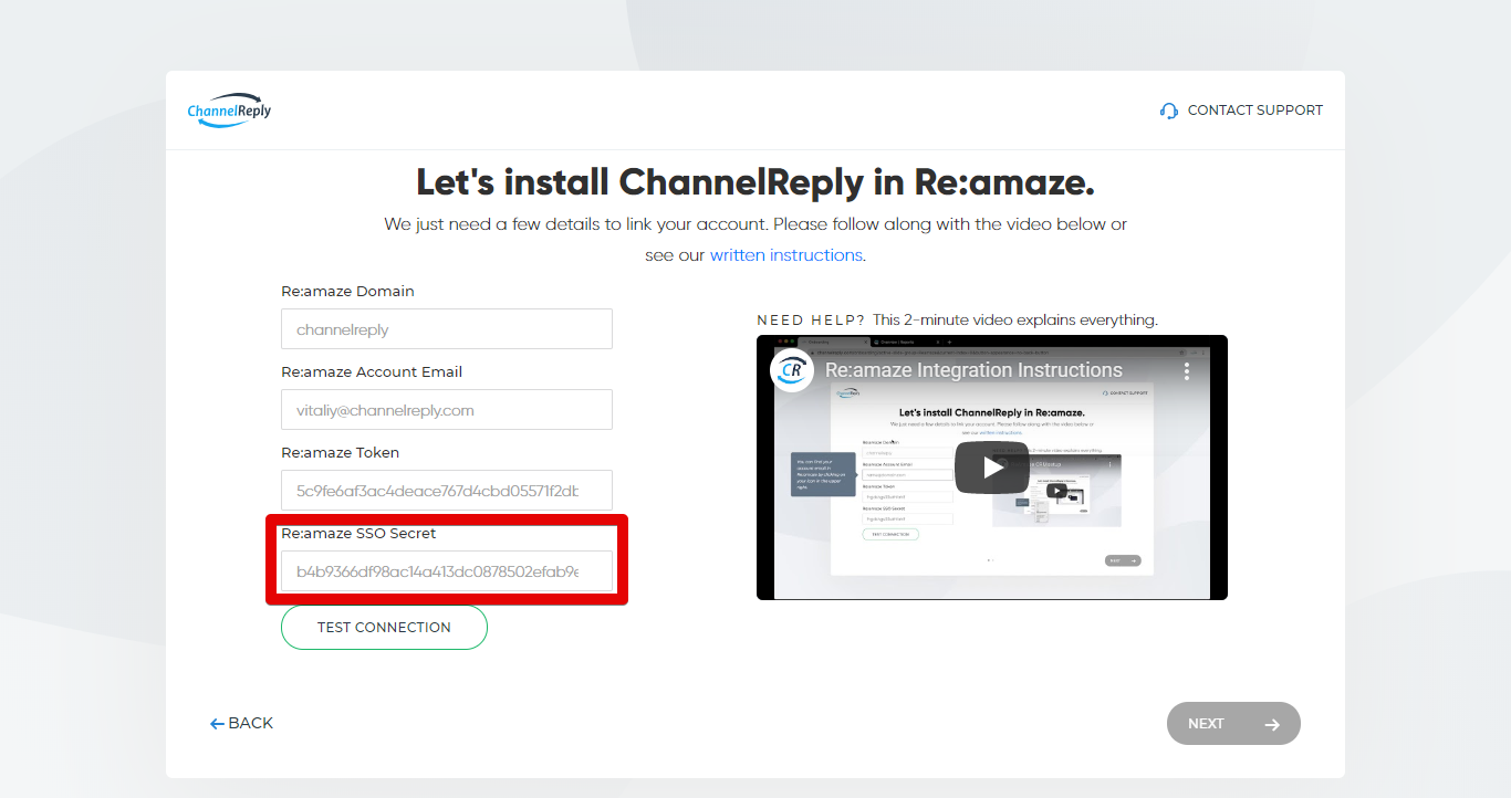 Entering Your Re:amaze SSO Secret in ChannelReply