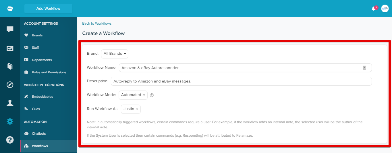 Autoresponder Workflow Settings for ChannelReply in Re:amaze