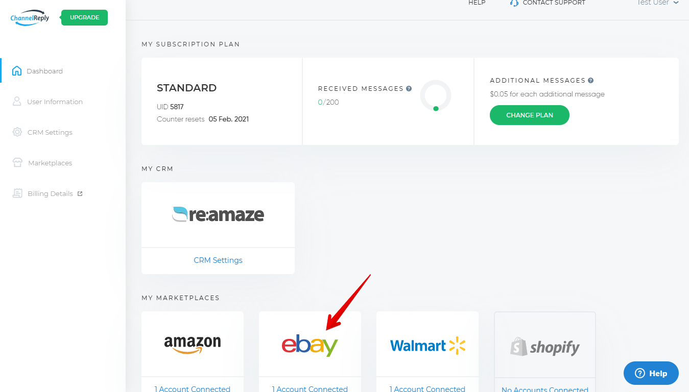 Choose eBay on the ChannelReply Dashboard