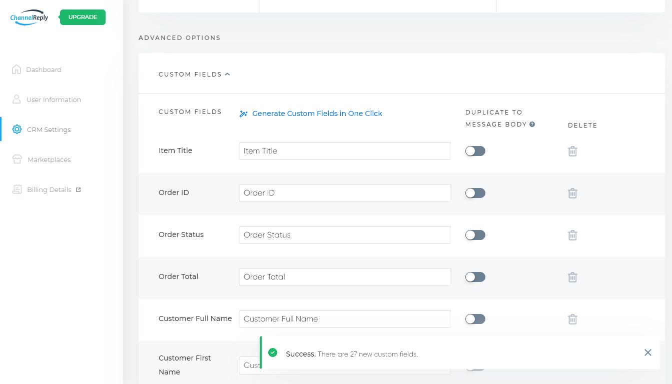 Generate Custom Fields in One Click Results
