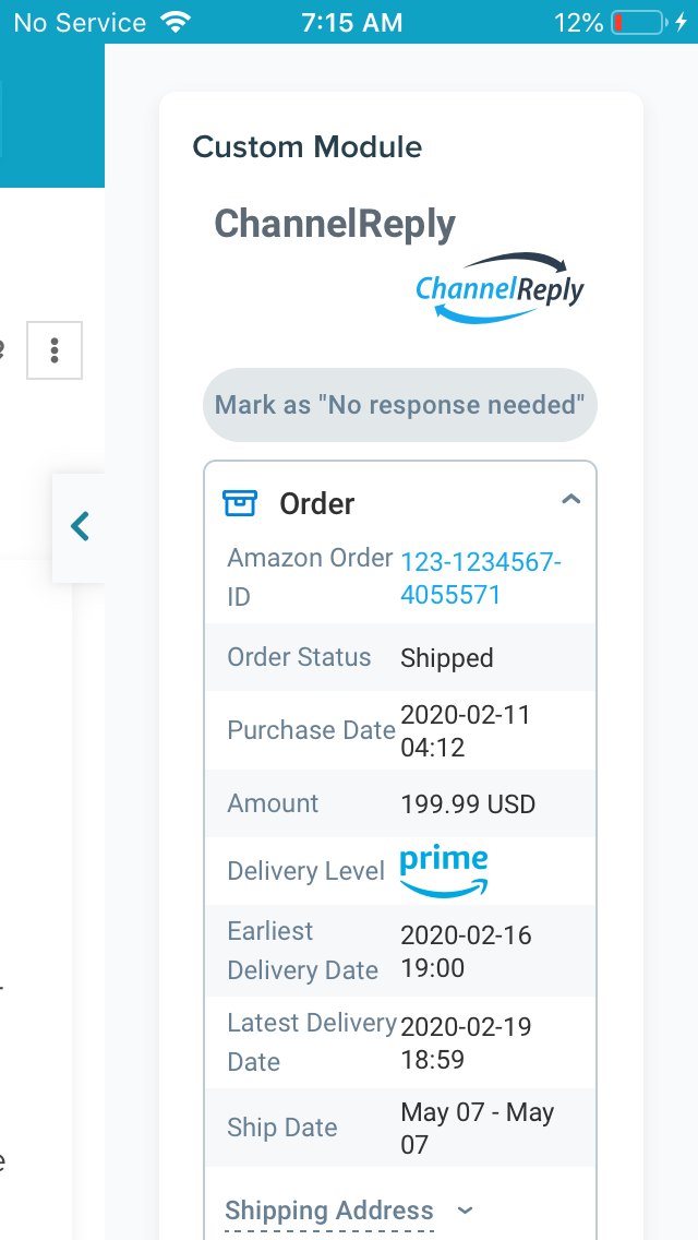 ChannelReply in the Re:amaze Mobile App