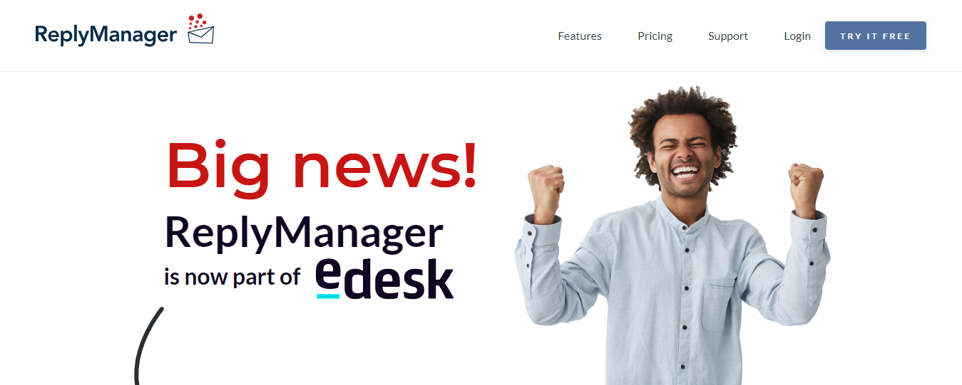 Banner from the ReplyManager Website Saying ReplyManager Is Now Part of eDesk