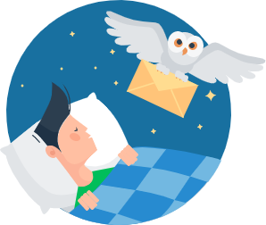 An Owl Delivering Messages while Charlie Sleeps