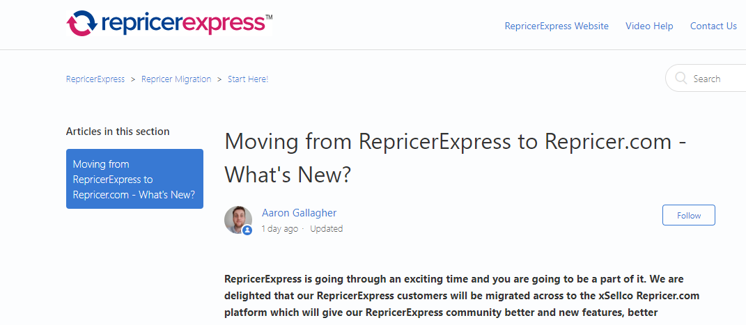 "Screenshot of ""Moving from RepricerExpress to Repricer.com - What's New?"" by Aaron Gallagher on RepricerExpress"