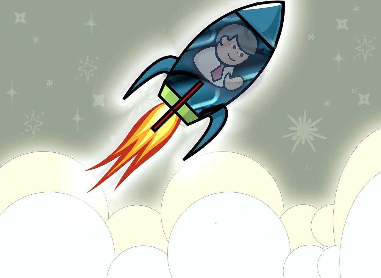 Businessman Riding a Rocket
