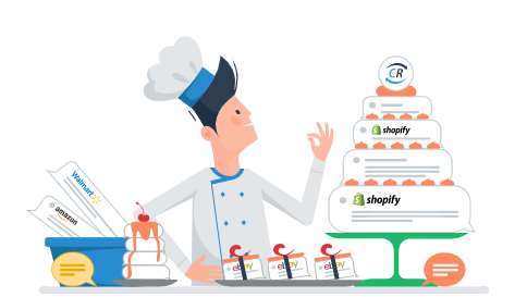 Chef Charlie with a Cake Made of Shopify Data