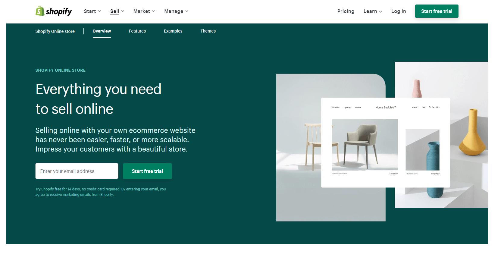 Screenshot of Shopify.com
