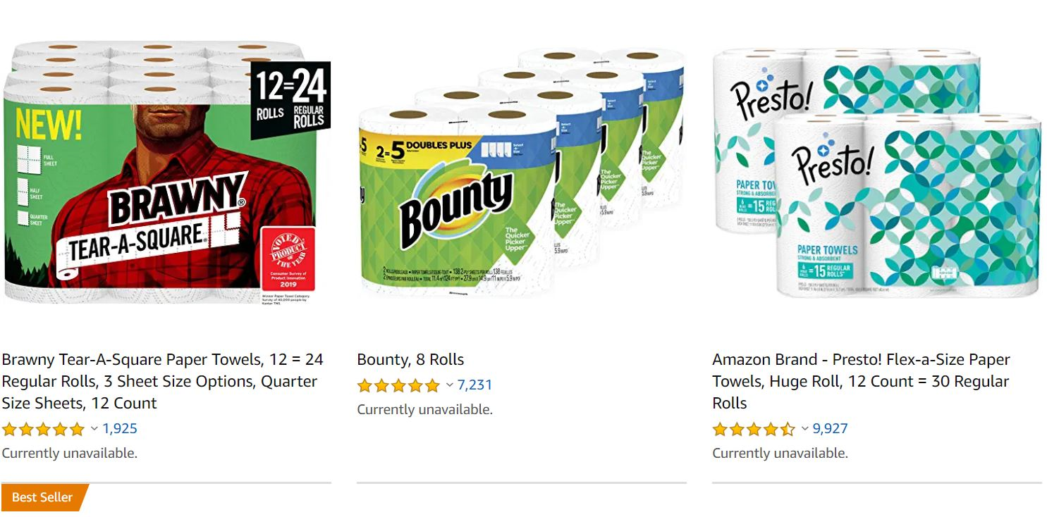 Sold-Out Paper Towels on Amazon