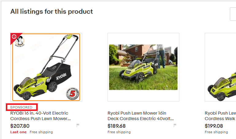 eBay Sponsored Listing on Product-Based Shopping Page