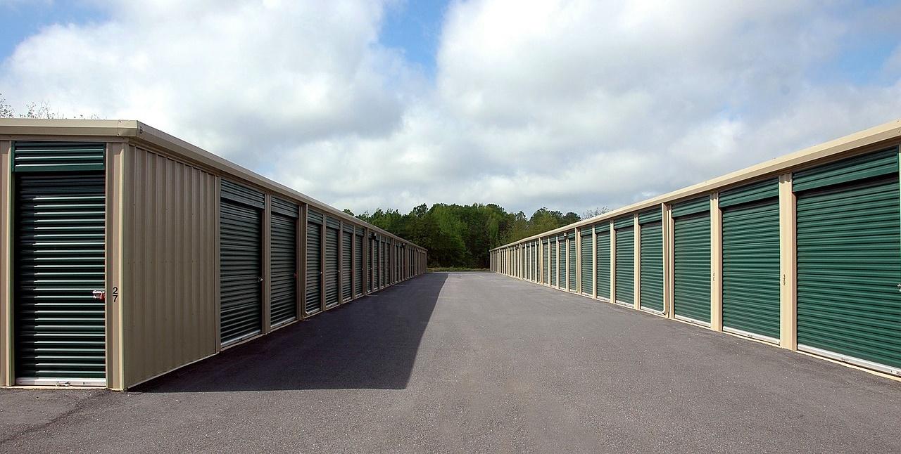 Storage Warehouses with Green Doors