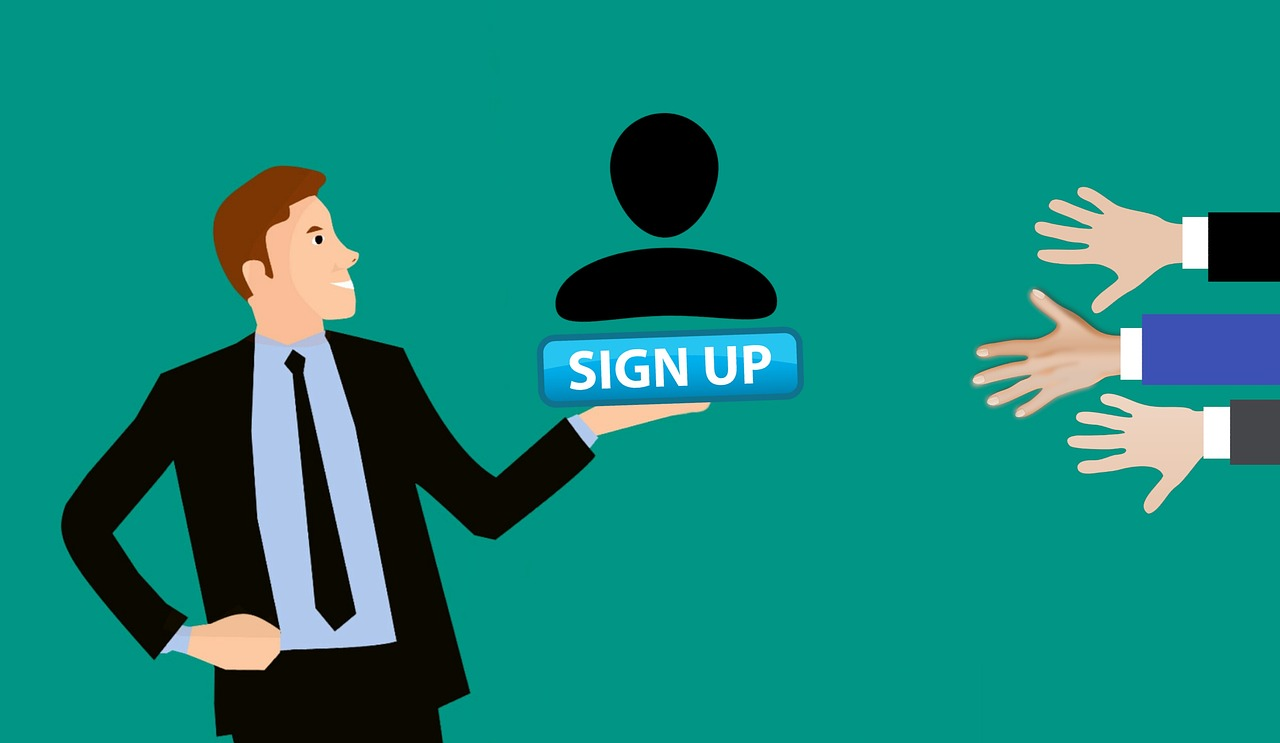 Man inviting subscribers to sign up