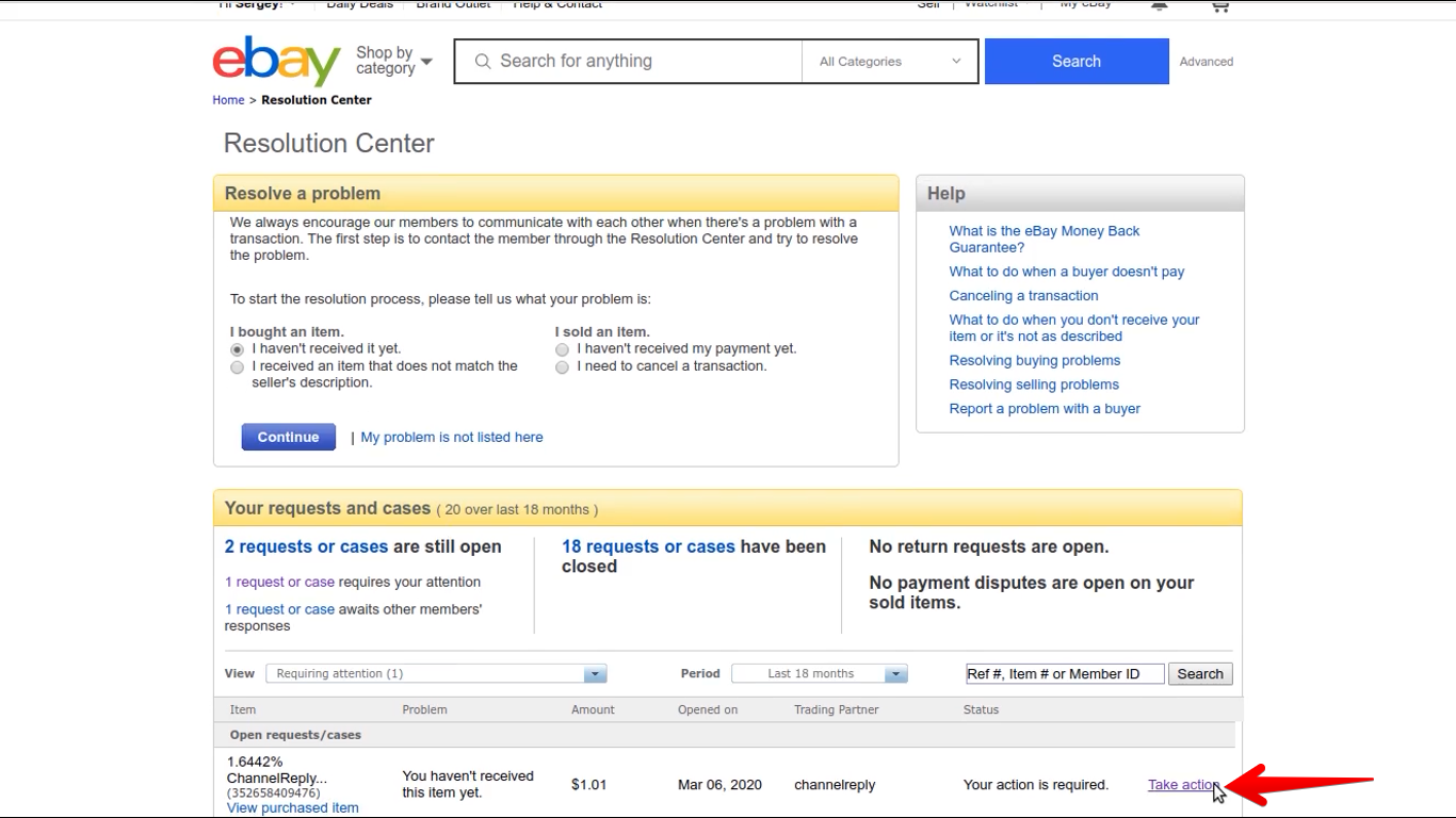 How to Take Action on an eBay Case or Request as a Buyer