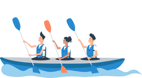 Charlie and Team in a Three-Person Kayak