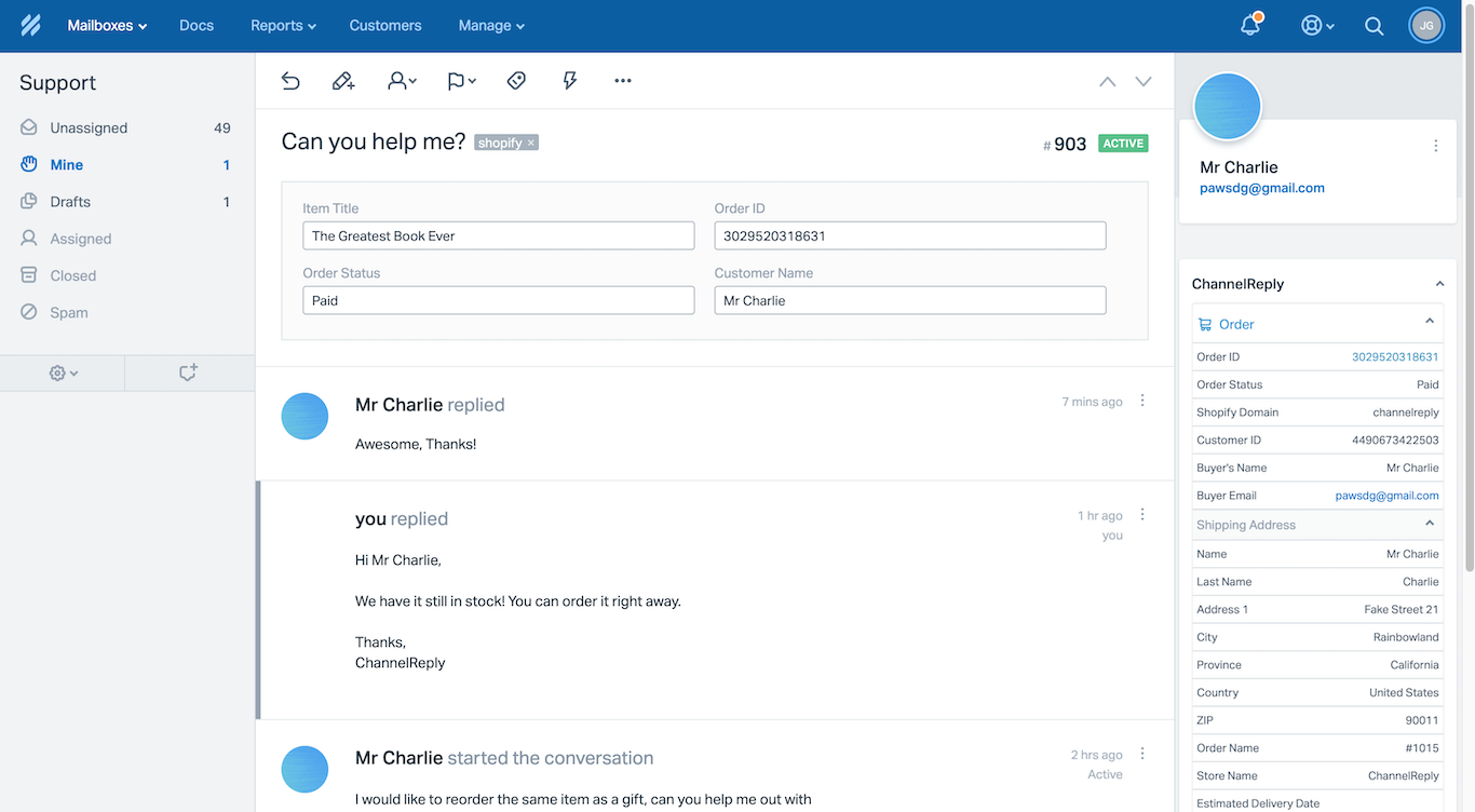 Help Scout Shopify Integration with ChannelReply