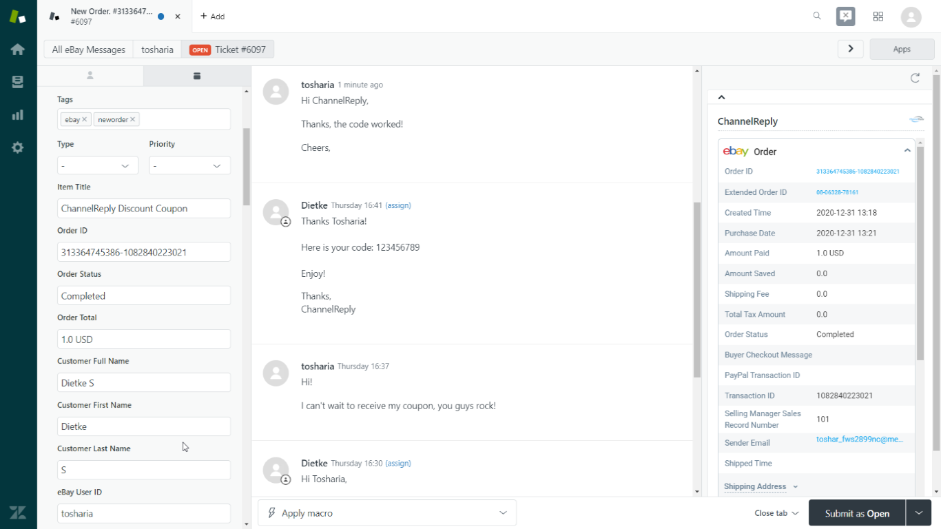 Back-and-Forth Conversation in a Zendesk Ticket