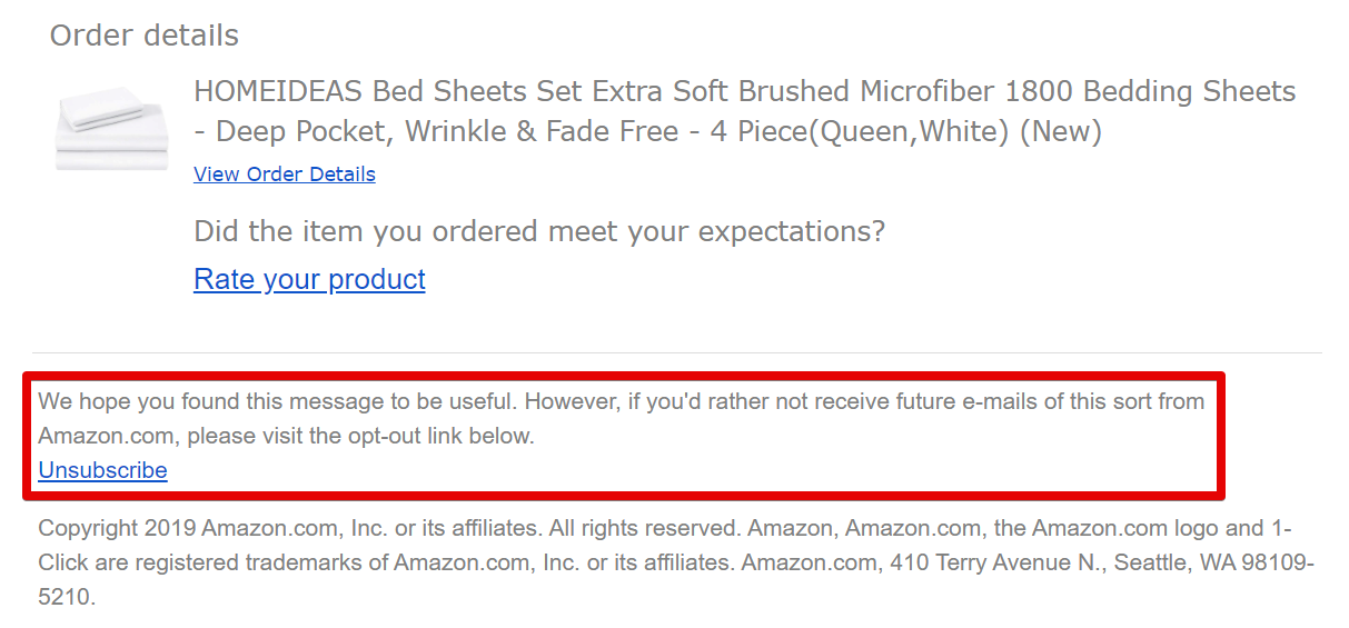 How to unsubscribe from Amazon review requests