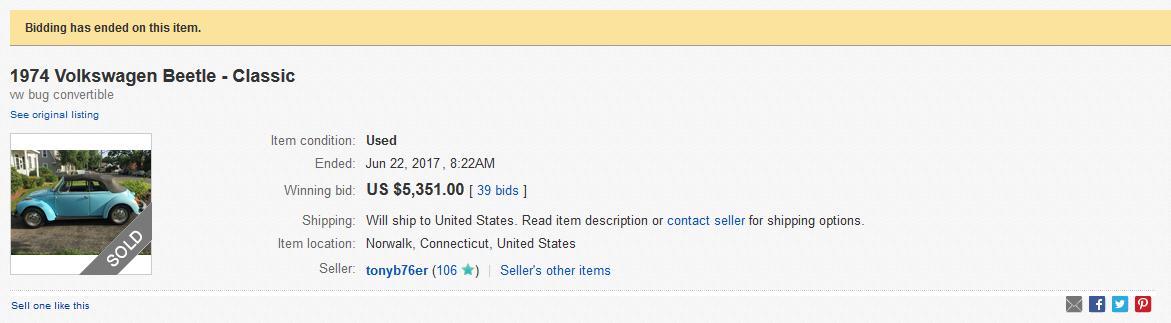 Bids on an Old VW Beetle on eBay