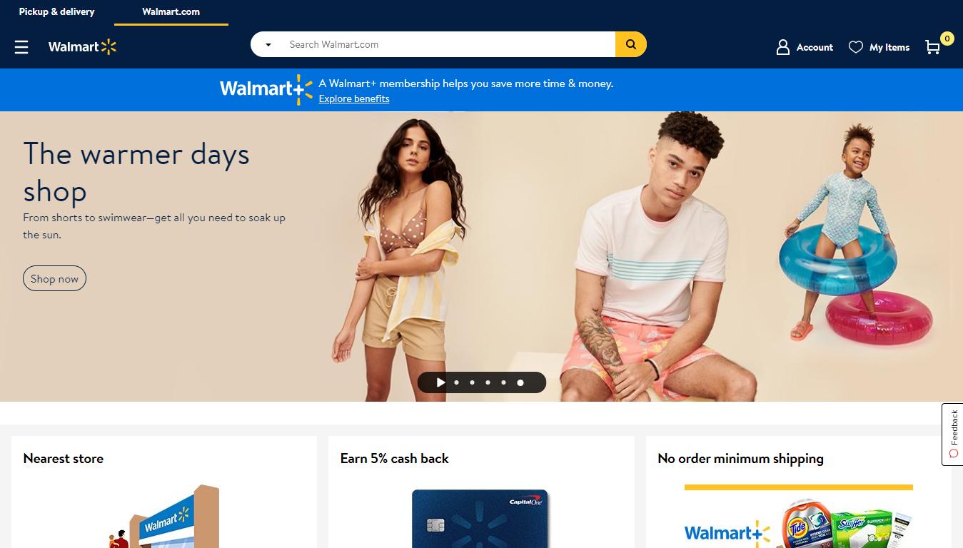 The Walmart Homepage, April 2021